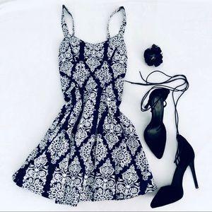 Australian navy blue & white patterned dress